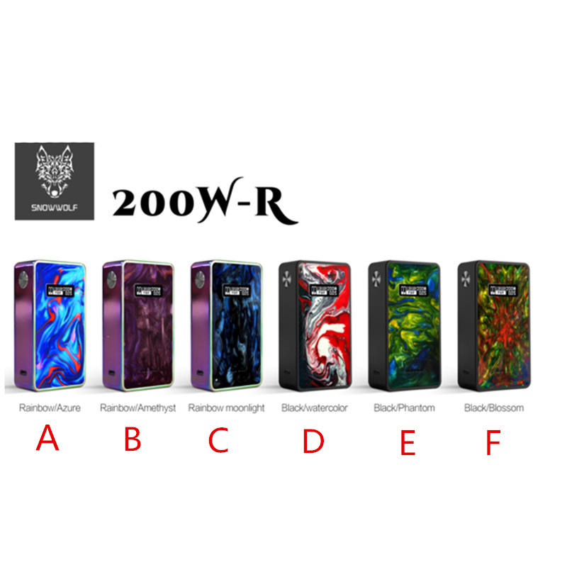 Original SNOWWOLF 200W R Mod Electronic Cigarette Box Mod 510 Thread 200w-R Vape Mod Kit Resin + Stainless Steel дрип тип 810 steel vape