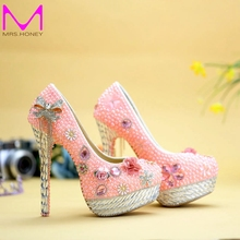 2016 Wedding Shoes Pink Pearl Banquet Formal Dress Shoes Spring Handmade Bride Shoes Adult Ceremony Pumps Party Prom Pumps