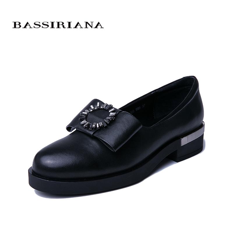 BASSIRIANA New Women Thick bottom shoes Natural Leather Round Toe Comfortable Shoes Fashion Free shipping