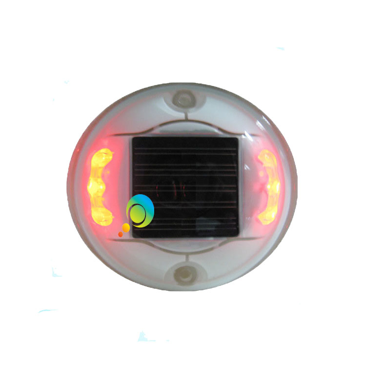 Steady Mode Waterproof Plastic Decoration Signal Light Solar Power Red LED Road Stud