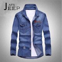 AFS JEEP S To 5XL Man S Casual Denim Full Sleeve Shirt Stripling Autumn Long Sleeve