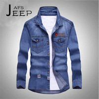 AFS JEEP S To 5XL Man S Casual Denim Full Sleeve Shirt Stripling Autumn Long Sleeve