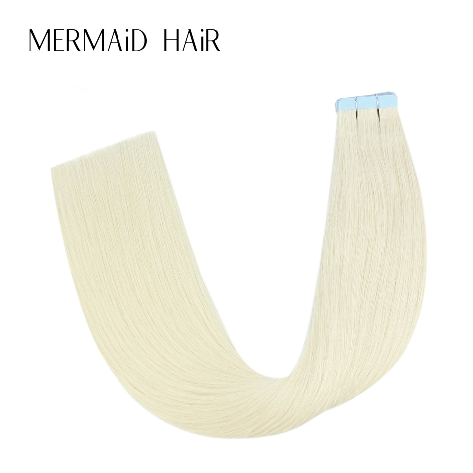 Mermaid 60# Platinum Blonde Remy Tape Hair Extensions Double Drawn 16 18 20 22 Straight Tape In Hair Extensions Skin Weft