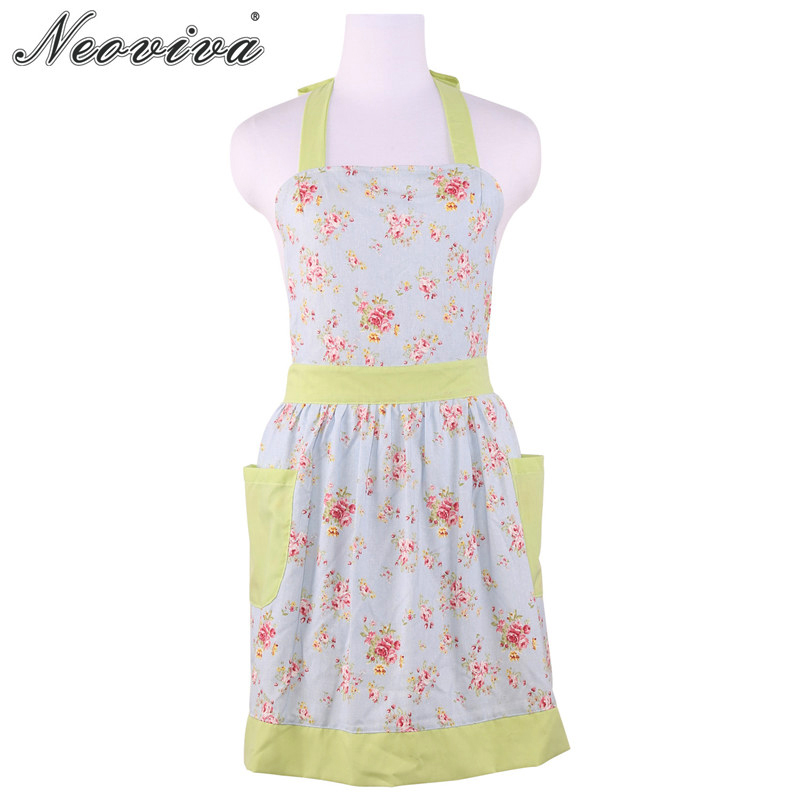 Neoviva Cotton Canvas Women Apron for Kitchen and Garden with Pocket Diana Floral Ballad Blue Green Strap Dress Delantal Cocina