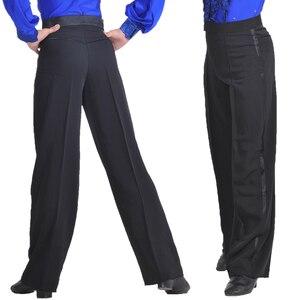 Image 5 - מקצועי גברים שחור לטיני ריקוד מכנסיים בני למבוגרים סאטן סלוניים ריקוד מכנסיים סלסה טנגו רומבה סמבה Cha Cha לטיני מכנסיים