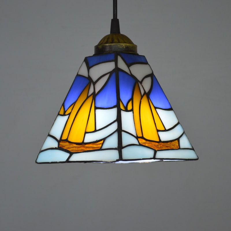 Tiffany Pendant Light Mediterranean Sea Style Stained Glass Sailing Boat Dining Room Luminaires E27 110-240V 16inch tiffany style rose glass pendant light bedroom study color glass lamp e27 110 240v
