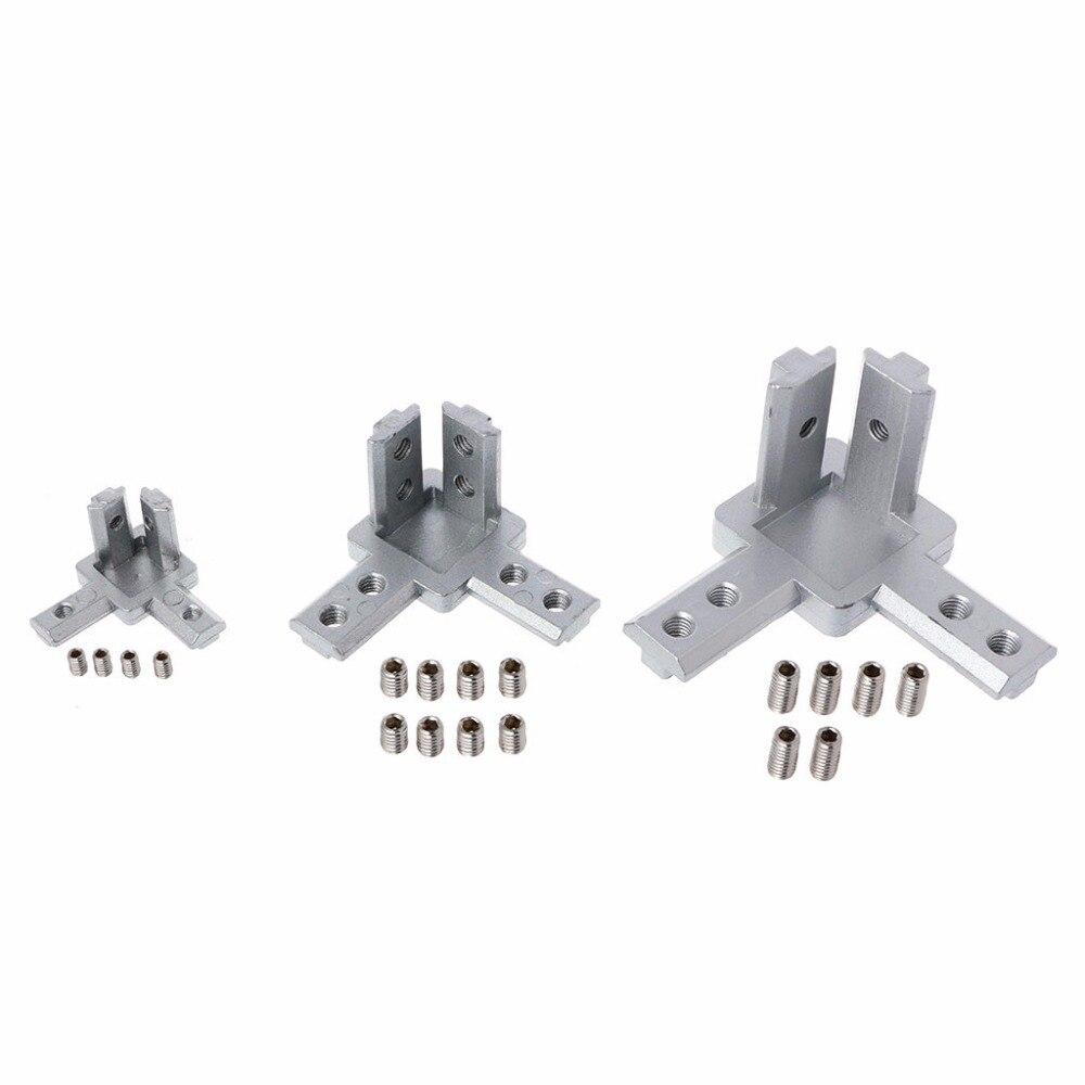 1PC L Type 3-dimensional 3-way Corner Bracket With Screws For EU Standard 2020 3030 4040  Aluminum Profiles
