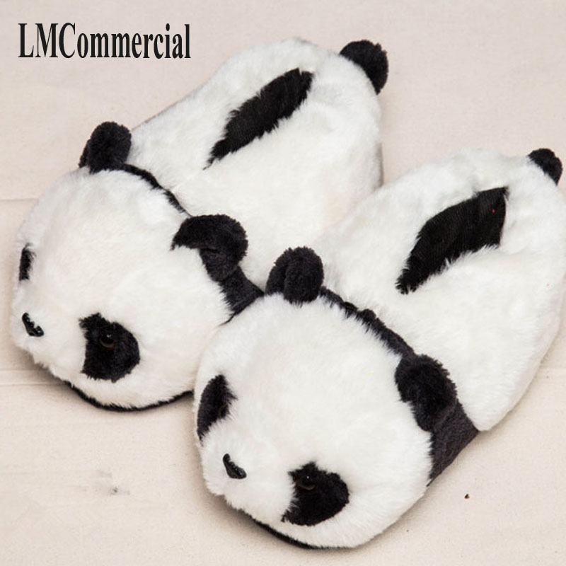 Indoor Slippers Special offer custom a warm winter home panda cotton slippers thick hard bottom shoes
