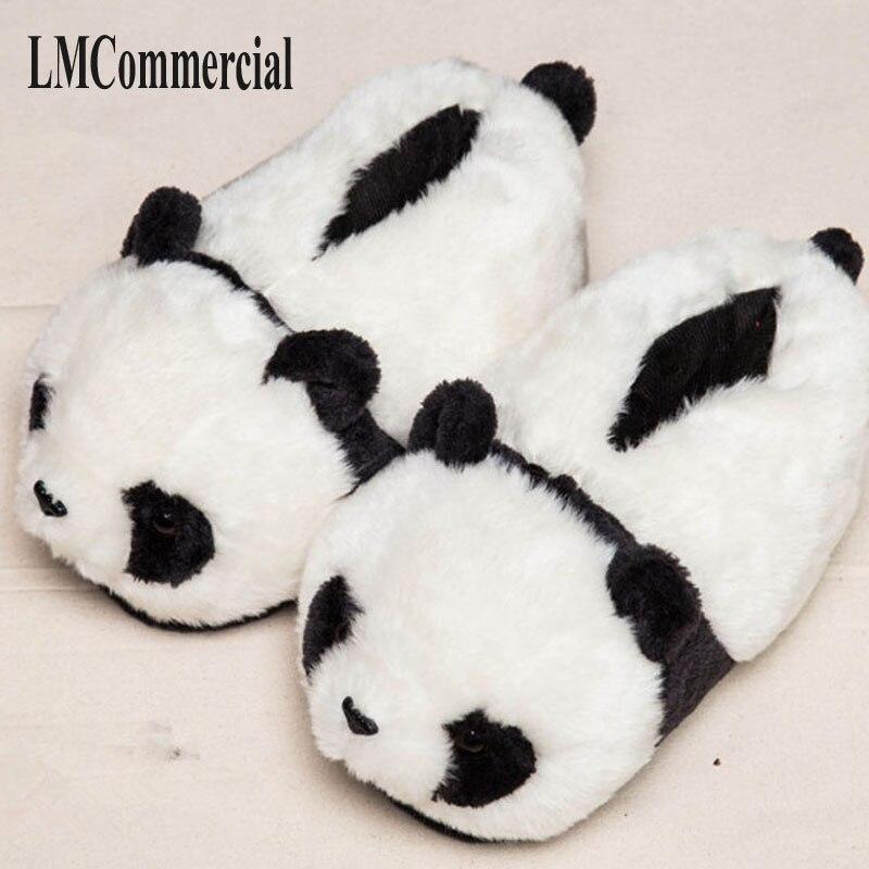 Домашние тапочки, специальное предложение, теплые зимние домашние хлопковые тапочки с пандой, обувь на толстой твердой подошве, обувь для в...