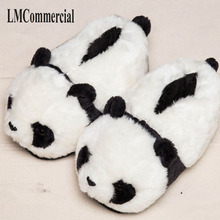 Special offer custom a warm winter home panda cotton slippers thick hard bottom shoes on floor lovers shoes цены