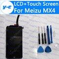 Para meizu mx4 display lcd + de toque substituição do painel de vidro digitador da tela de new chegou para meizu mx4 1920*1152 5.36 telefone''