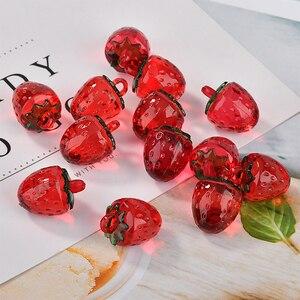 Image 5 - 최소 주문 30 개/몫 컬러 아크릴 소재 수제 체리/딸기 모양 펜던트 diy 귀걸이/의류 매력 액세서리