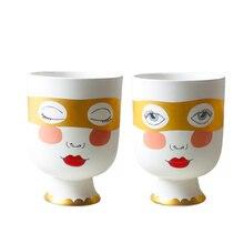 Double Sided Human Face Matte Table Flower Vase Woman Girl Golden Eye Mask Arrangement Big Mouth Desk Pot Home Decor