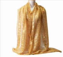 Foulard hijab pour femmes musulmanes, à la mode, scintillant, Lurex, Long châle, Pashmina, paillettes, couvre chef, 180x68cm, 1 pièce