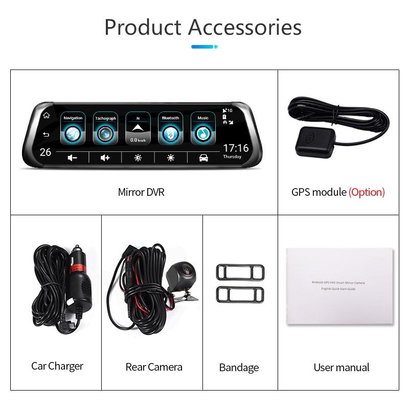 Jansite 10 4G wifi Автомобильный видеорегистратор сенсорный экран двойной объектив Универсальный Android gps навигация зеркало заднего вида Автомобильные камеры ADAS Bluetooth - 6