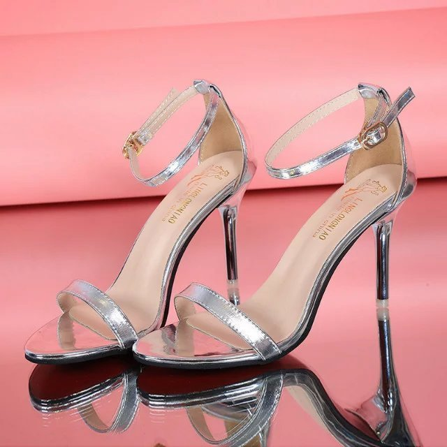 Women High Heel  Sandal with Hollow Strip Peep Toe Buckle Trap Strap