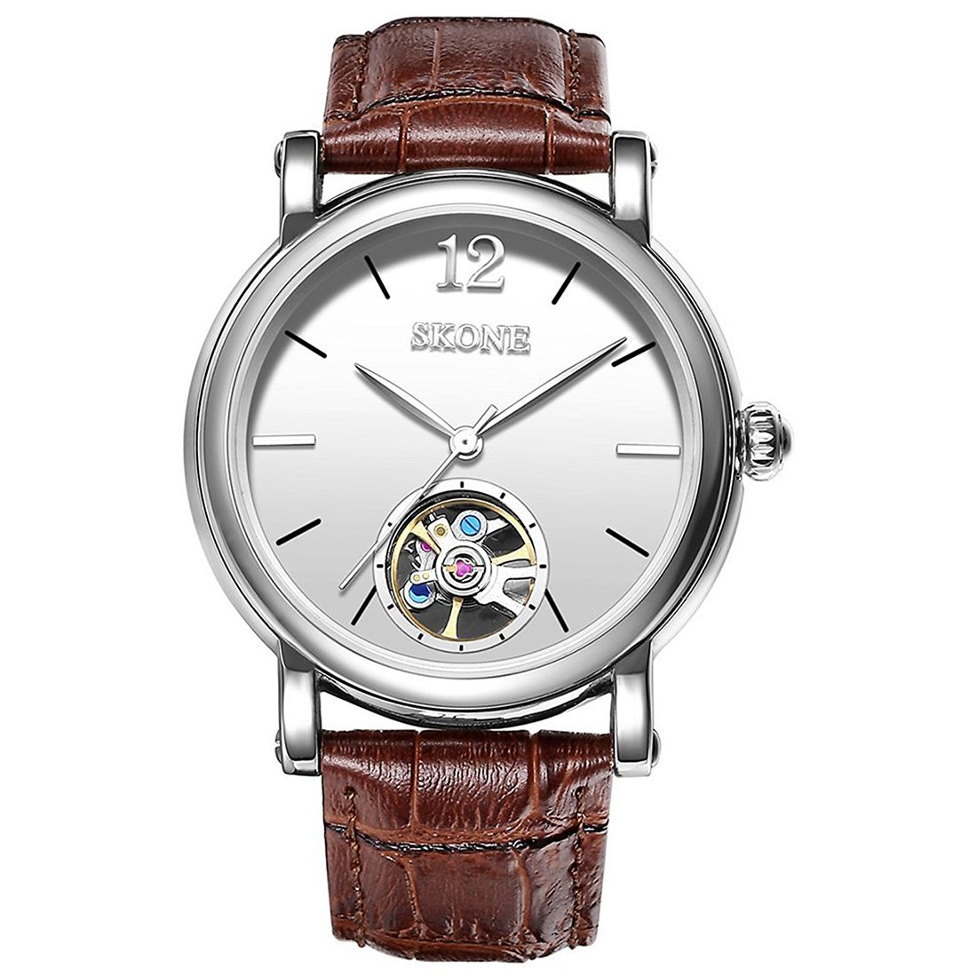 Practical SKONE Mens Automatic Mechanical Watch with Leather Strap все цены