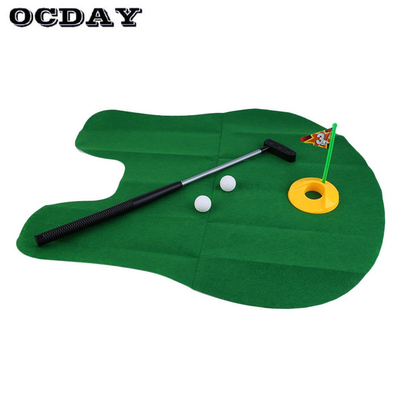 Hot! OCDAY Funny Potty Putter Toilet Game Mini Golf Set Toilet Golf Putting Green Novelty Game Gag Toys Gift Mat New Sale