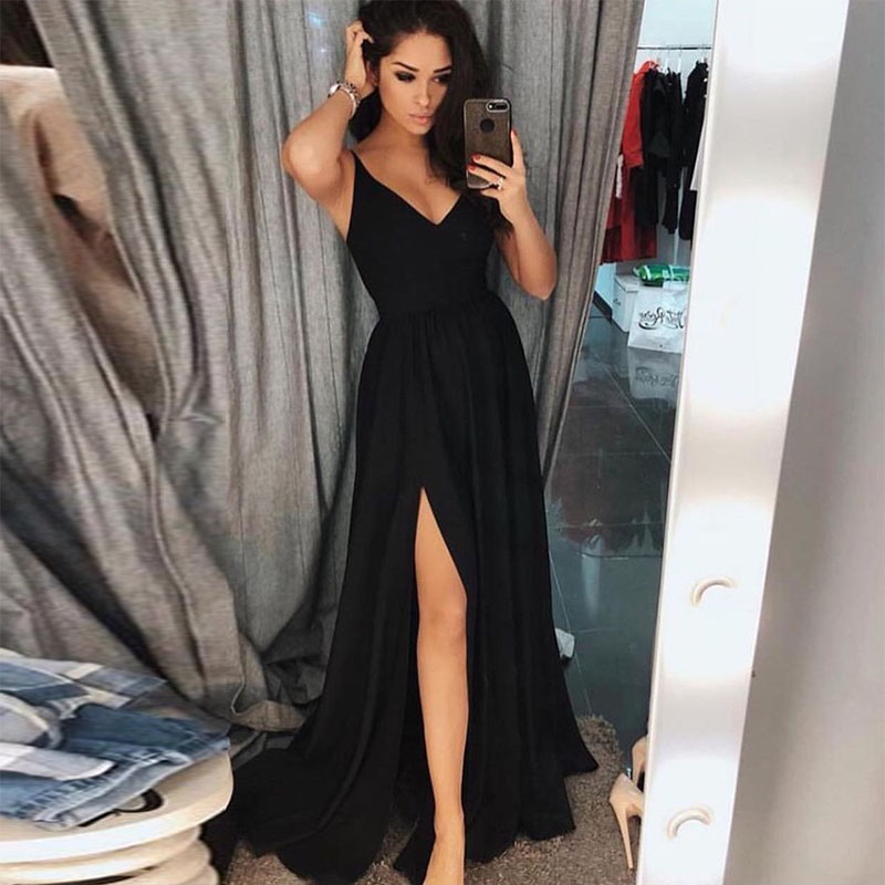 Verngo Stain Black Evening Dress 2019 Sexy Spaghetti straps Slit side Party Gown Long