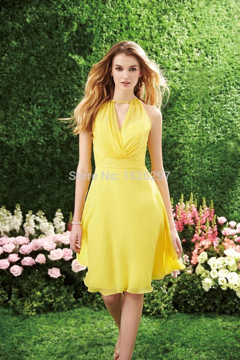 Yellow Short Chiffon Dresses