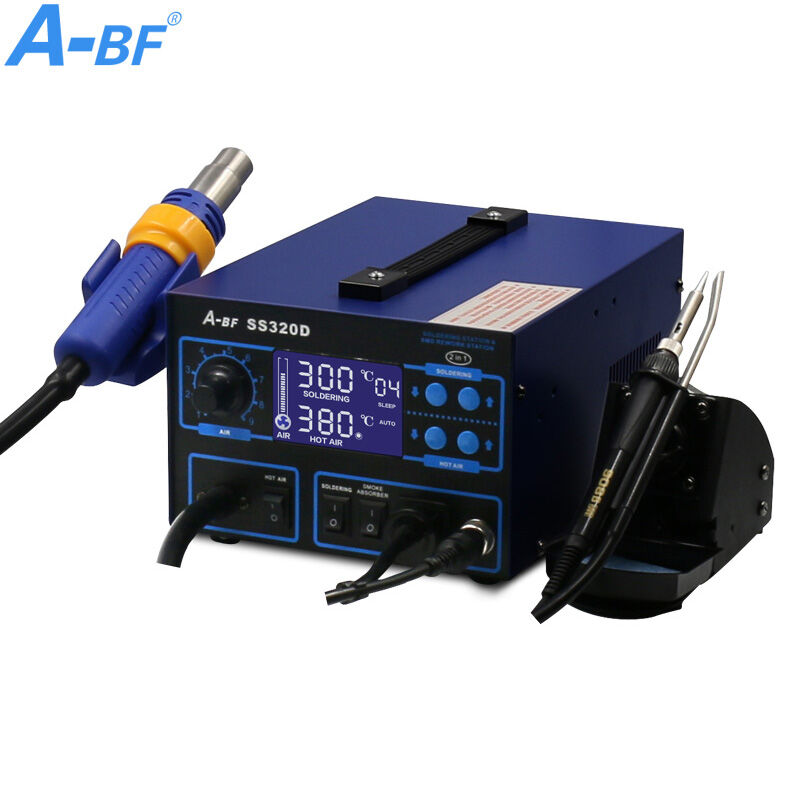 Electronic Rework Station 3 IN 1 A-BF SS320D soldering iron station hot air gun Station solder smoke absober digital display chic mid waist button design ripped denim shorts for women