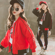 Fashion Autumn Coat Girl Kids Red Outerwear Tops Teenage School Clothes Girls Jackets Spring 2019 Baby Windbreaker Coats 10 12Y