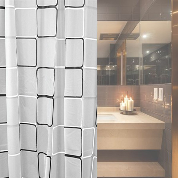 Variety Sizes New PEVA Shower Curtain With 12 Hooks Black White Grid Print Waterproof Blinds For