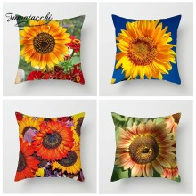 Fuwatacchi Floral Cushion Cover Various Sunflowers Throw Pillow Shiny Flowers Pillowcases Square 45X45