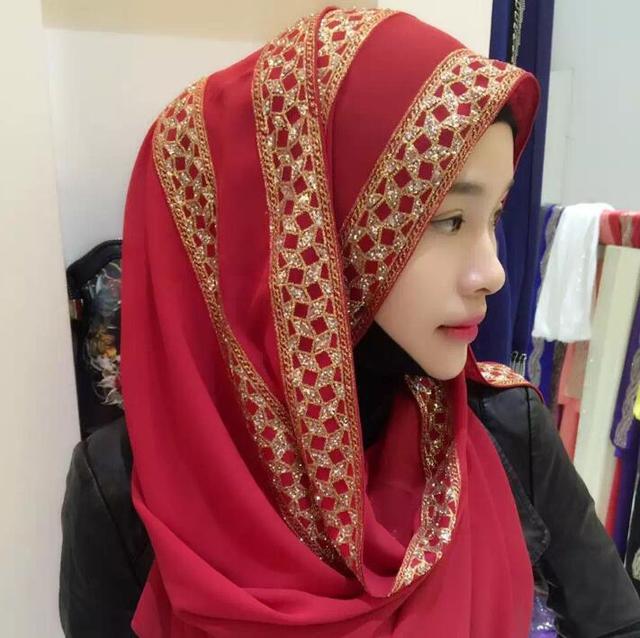 583887ef6 10 couleurs femme mode musulman Hijab foulard Long décontracté casquettes  enveloppes femmes été