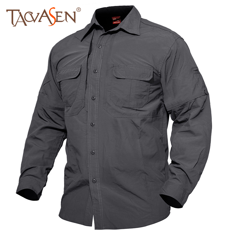 TACVASEN Hiking Shirt Long-Sleeve Hunting Tactical Quick-Dry Men With Pocket Outdoor