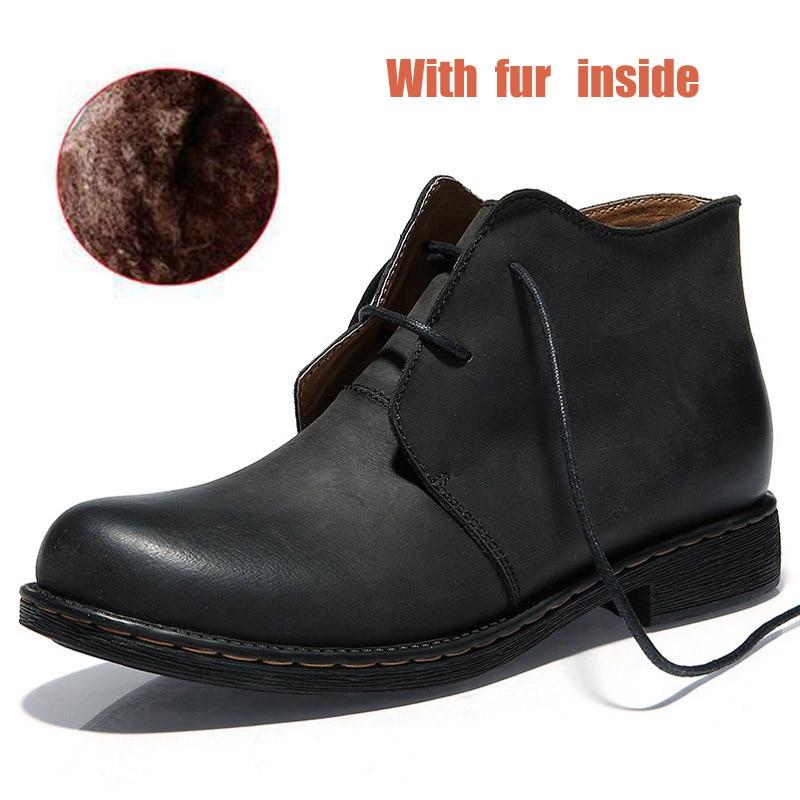 De Fur Dos Trabalho Prova Artesanal Shoes9 Inverno Martin Britânico Genuíno Estilo À D' Couro Ankle Botas Homens Segurança With Boots brown preto Outono Black marrom Fur Louco Água aqw6gxYqX