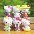 Brinquedos 6 pçs/lote gato Olá Kitty Artesanato Teatro de Verão bonito do anime Conjunto de Mini Boneca Figura de Ação DO PVC Brinquedos do bebê boneca funko pop