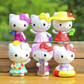 brinquedos 6 pcs/lot cat Hello Kitty Summer Theater Crafts cute anime PVC Mini Set  Doll Action Figure doll baby Toys funko pop