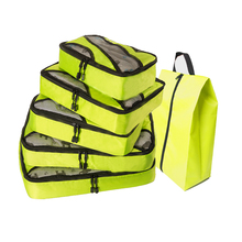 QIUYIN Men Bag Travel Oxford Travelbag Green Luggage 5 Pcs Packing Cubes