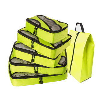 QIUYIN Men Bag Travel Oxford Travelbag Green Luggage 5 Pcs Packing Cubes