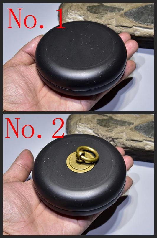 Elle Inkstone petite forme ronde pour calligraphie encre pierre inkstone avec couverture calligraphie peinture outil 10*3 cm