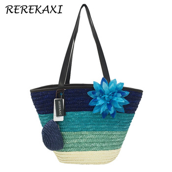 REREKAXI Summer Knitted Straw Bag Wheat Pole Weaving Women's Handbags Flower Bohemia Shoulder Bags Lady's Beach Bag Large Tote