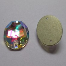 Sew On Rhinestones Oval Shape Crystal Glass AB White Color Flatback Beads Stones Strass 2 Holes For Garment Decoration