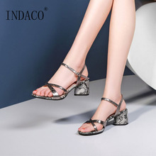 Sexy Women High Heels Sandals for Summer Shoes Snakeskin Pattern Champagne Silver