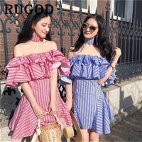 RUGOD Elegant stripe summer dress women Korean chic ruffles off shoulder midi dresses vestidos Fashion A line female clothing