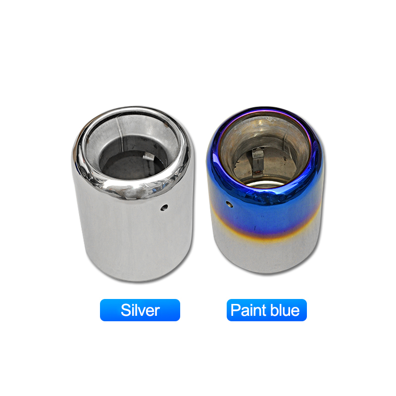 QHCP Car Exhaust Pipe Rear Tail Throat Liner Muffler 1Pcs Stainless Steel Silver Blue For Subaru