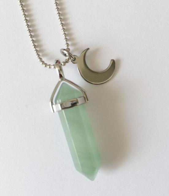 Vintage silver crescent charms aventurine natural stone bullet vintage silver crescent charms aventurine natural stone bullet necklace choker statement necklace pendant jewelry women b150 aloadofball Images