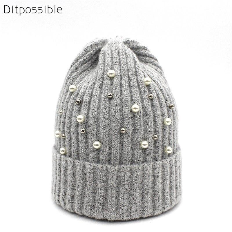 Ditpossible Ladies Fashion Pearl Knitted Hat Spring Autumn Winter Beanies Girls Hats Skullies Women's Hat Bonnet Gorro