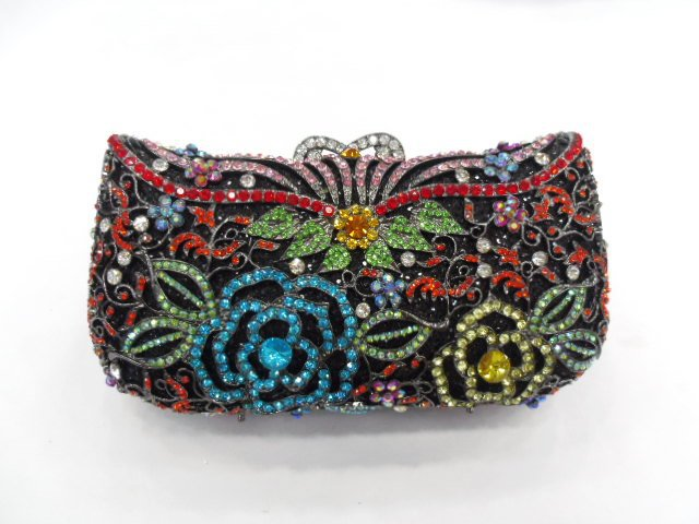 ФОТО #8264A Crystal Rose Flower Floral Bridal Party hollow Metal Evening purse clutch bag handbag case