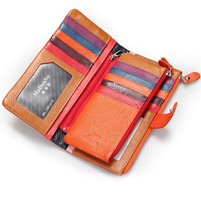 정품 가죽 여성 지갑 다채로운 바느질 가죽 지갑 브랜드 지퍼 디자인 클러치 지갑 핸드백 패션 신용 카드 슬롯