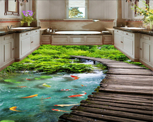 HD bridge river carp carpets 3D floor tiles flooring 3d waterproof self - adhesive painting wallpaper stickers wall paper