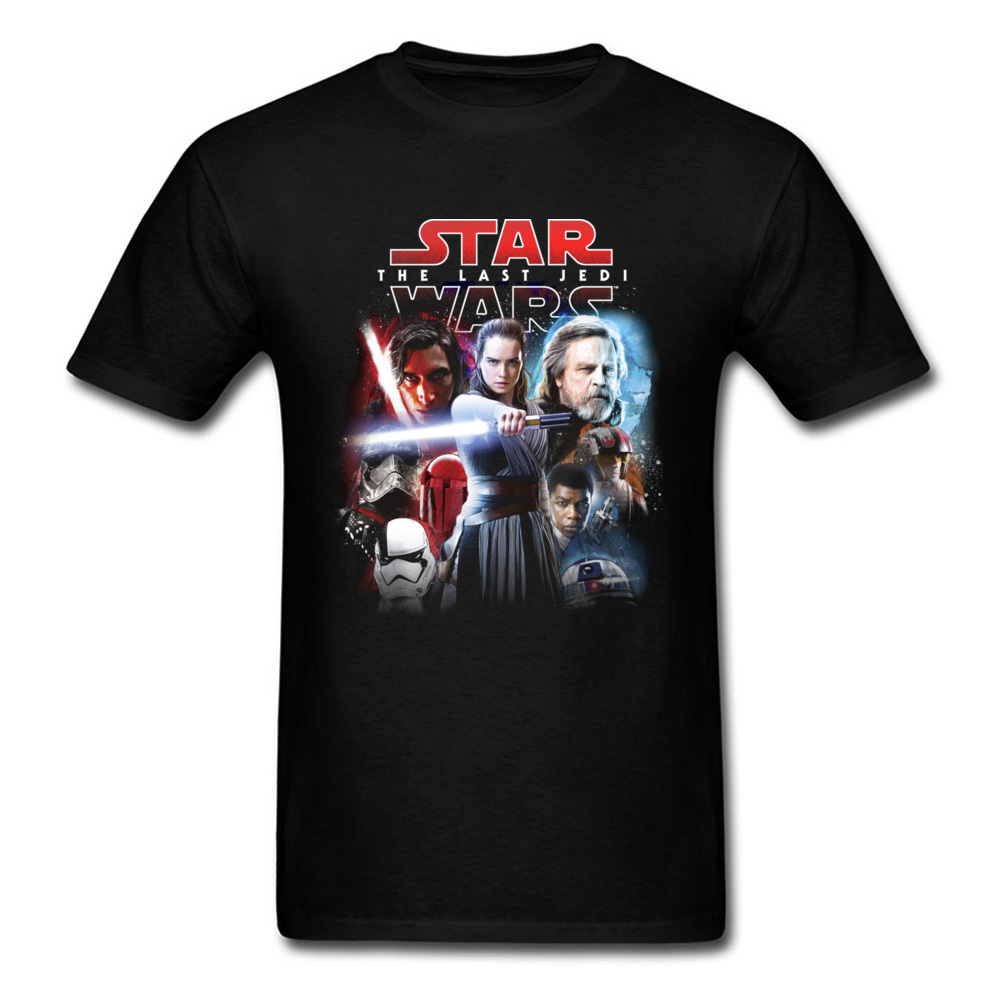 Cool The Last Jedi Cast 2018 Summer Tops Tees Men T-shirt Black T Shirts Star Wars Funky Game Clothing Drop Shipping