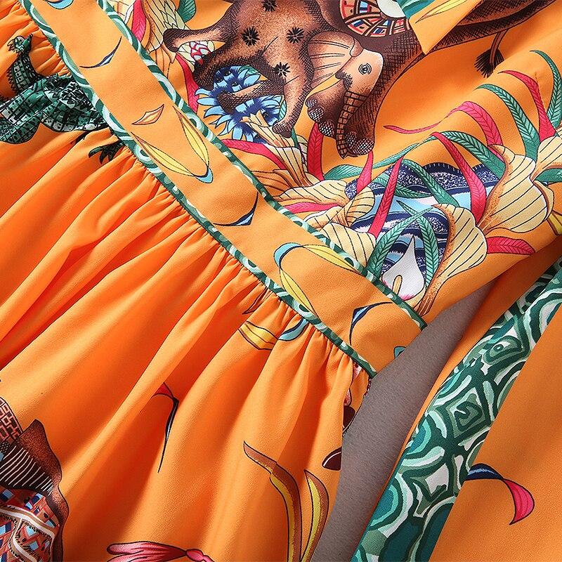 Manches Turn Cheville Haute longueur Imprimer Élégant Nouvelle Mode Robe Longue Arc ligne Automne Collar A 2018 Qualité Pleine Femmes down D2EW9HI