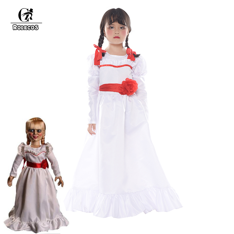 ROLECOS Movie Annabelle Cosplay Costume White Dress Doll Halloween Cosplay Costume for Girl Kid Lolita Dress Long Dress Flower