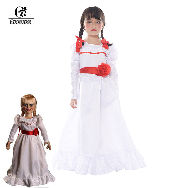 rolecos movie annabelle cosplay costume white dress doll halloween cosplay costume for girl kid lolita dress